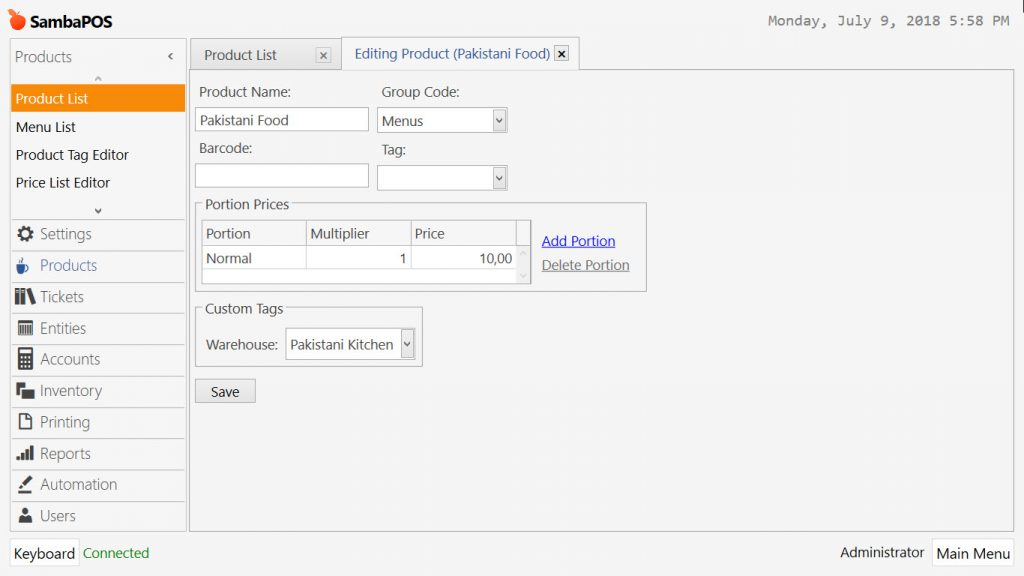4 16  How to Configure Product Based Warehouse Tracking? – SambaPOS